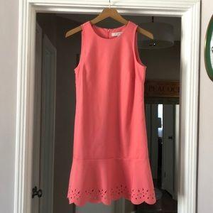 Ann Taylor LOFT Coral Laser Cut Shift Dress